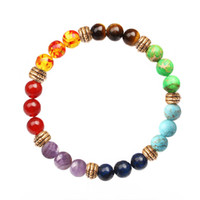 7 Chakra Stone Bracelet Natural Beads Healing Reiki Prayer B...