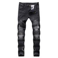 Newsosoo Siyah Erkekler Kot Biker Delik Slim Fit Streç Kot Pantolon Siyah Düz Sıska Denim Pantolon Artı Boyutu 42 Dropshipping
