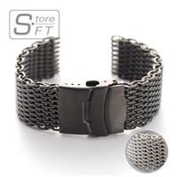 HER 22mm Paslanmaz Çelik Hasır Watch Bilezik Watchband Yüksek Kalite 316 Paslanmaz Çelik 20mm 24mm Gümüş Siyah İzle bantları
