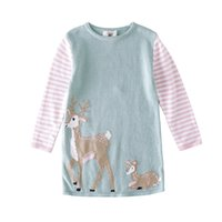New Baby Girls Cartoon Dresses Deer Stripe Long Sleeve Kids ...