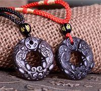 Gemelli del pendente fortunato naturale dell'ossidiana dell'ossidiana dell'ossidazione nera del drago cinese Pixiu A13