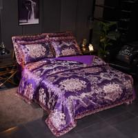 Kaufen Sie Im Großhandel Lila Luxus Bettwäsche Gesetzt Königin 2019
