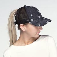 2018 여름 여성 포니 테일 스냅 백 유니섹스 데님 메쉬 야구 모자 구멍 힙합 모자 아빠 모자
