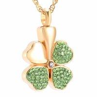 IJD8533 Crystal Four Leaf Clover Feuerbestattung Schmuck Halten liebte Asche Asche Keepsake Feuerbestattung Urn Halskette
