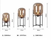 노르딕 포스트 모던 유리 플로어 램프 거실 침실 미니멀리스트 복고 연구 책상 램프 드롭 배송