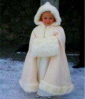 Şampanya rengi çocuk Custom Made Kız Pelerin Çocuklar Düğün Pelerinler Faux Kürk Ceket Kış Kid Için Çiçek Kız Çocuk Saten Çocuk
