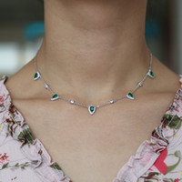 Princesa Nobre Colar Pingente Gota De Água Criado Emerald Elegent Collar Cadeia 32 + 10 cm Para As Mulheres Femme Moda Jóias Presente