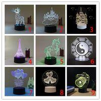 3D 밤 빛 LED 창조적 인 장식 램프 색상 변경 가벼운 터치 제어 생일 선물 USB 충전 만화 램프 정의