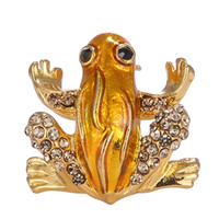 Rinhoo Rhinestone Pins Broches Broches Animales Para Mujeres Joyería de Moda Pequeña Encantadora de Cristal Rana Broches