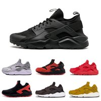 Triple White Black Huarache 4. 0 1. 0 Mens Womens Running Shoe...
