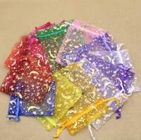 400 sztuk Brązujący przędzy Torby Prezent Biżuteria Torby Stars Moon Kolczyki Bransoletka Torba do przechowywania Kolorowe Torby Gaza 7 * 9 cm