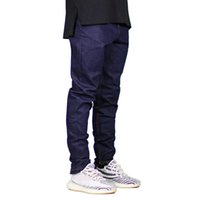 Men Jeans Fashion Dark Blue Slim Fit Denim Stretch Zippers J...