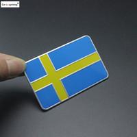 2PCS Alüminyum Otomatik Araç İsveç İsveç Bayrak araba amblemi Rozet Decal Sticker İçin Bmw VW Audi Buick cip Volvo Saab Aksesuar