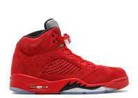 TOP Factory Version 5 Red Suede Basketball Shoes mens traine...