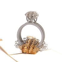 Gold Laser Cut 3d Diamond Ring Pop Up Wedding Invitations Ro...