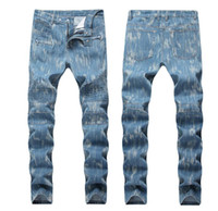 Mens Fold Stretch Hellblaue Röhrenjeans Slim Fit Designer plissiert Biker Denim Pants Streetwear QKN1388