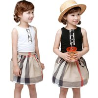 England Style Summer Baby Girl Dress Classic Black White Plaid Patchwork Spring Girls Princess Dresses Sleeveless Girl Dress