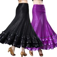 Faldas de baile de salón CHEAPEST Vestido de aleta de salón estándar para Waltz Tango Dance D0417 dobladillo con volantes grandes