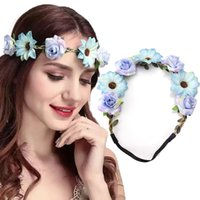 Fashion Women Bride Flowers Headband Bohemian Style Rose Flo...
