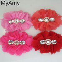 Accessori per capelli Girls Headwear Myamy 20pcs / lot 5 5.2 Grandi fiori di chiffon ballerina con perla e strass al centro