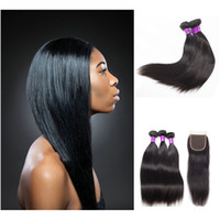 3 Bundles with Closure Deal 4 Pcs Lot Mink Brazilian Straigh...