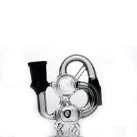 Abgewinkelt Joint Doppelkammer Ashcatcher für Glas Bongs Glas Bubbler 90 Grad Aschfänger 18mm Gelenke