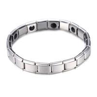 Moda argento placcato salute Braccialetto magnetico per le donne di alta qualità in acciaio inox magnete braccialetti braccialetti collegamento catena di collegamento gioielli all'ingrosso