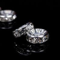 300pcs / lot en argent cristal strass rondelle Spacer Perles de bricolage charmes de 6 mm 8 mm pour la fabrication de bijoux