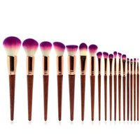 17PCS Wood Eyeshadow Eyebrow Lip Powder Brushes Professional...