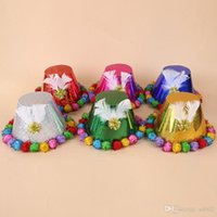 Novità Magic Paper Hat con capelli Ball Feather Birthday Party Cap per bambini Cute Formal Hats Fashion Multi Color 4ry ii