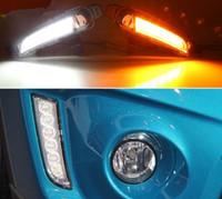 frete grátis 2PCS LED diurnas Luz Para Suzuki Vitara 2015 2016 2017 2018 Voltando Amarelo relé de sinal impermeável carro 12V LED DRL