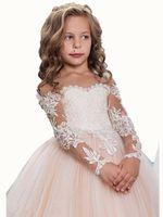 Yeni Varış Güzel Allık Uzun Kollu Jewel Dantel Aplikler Katlı Tül Düğün Çiçek Kız Elbise Custom Made