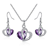 Luxury CZ Gemstone Heart Drop Earring And Necklace Jewelry S...