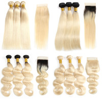 Ombre 1B 613 Blonde Bundles With Frontal Brazilian Virgin St...