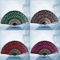 Pailletten dansende ventilator geborduurde pauw vouwen hand fans voor vrouwen fase prestatie rekwisieten plastic vele kleuren 1 8zq zz