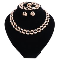 Mode Hochzeit Dubai Afrika Nigeria Afrikanischen Schmuck-Set Gold-Farbe Halskette Ohrringe Armband Ringe Romantische Frau Brautschmuck Sets