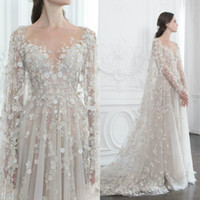Paolo Sebastian Fairy Prom Dress Sheer Neck Long Sleeve 3D F...