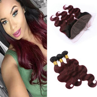 Wine Red Ombre 99J Hair Bundles with Lace Frontal Closure Da...