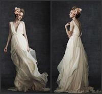 Греческая греческая богиня пляжные свадебные платья 2018 Новое ретро простое шифоновое плавное бледное платье в полный рост в стиле кантри Boho для новобрачных