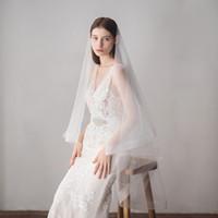 2018 تصميم جديد رخيصة الزفاف لينة تول الزفاف الحجاب جودة عالية الحجاب الأبيض لحضور حفل زفاف CPA1431
