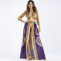 Plus Size Mulheres Verão Étnica Africano Impressão Kaftan Maxi Vestido de manga Longa Solto Boho Praia Do Vintage Longo Vestido Retro Até O Chão Vestidos