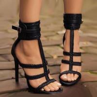 Moda Negro Hebilla Trenzado Tejido T Strappy Zapatos Mujer Sandalias de gladiador de tacón alto Tamaño 35 a 40