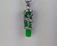 11 Spedizione gratuita verde giada collana pendente lungo Zhu ciondolo ritenzione colore placcato argento giada drago colonne all'ingrosso C2