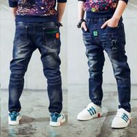 De alta qualidade Primavera newset / Outono roupas infantis denim sólidos finos bebê meninos calças jeans para tamanho crianças grandes rapazes causal calças de brim