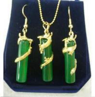 Fashion Green Jade 18KGP Dragon Women Girl Pendant Earrings Chain Necklace Set