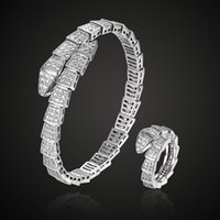 Fashion  Adjust Cubic zircon snake bangle and ring wedding jewelry sets three plated color copper bangle anel sets aneis