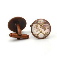 Chemise de luxe boutons de manchette World Map pour hommes Marque manchette bouton de manchette Boutons de manchette colorés Haute qualité bijoux Abotoaduras