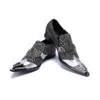 Chaînes Hommes Chaussures De Soirée De Mariage Formelle Chaussures En Argent Véritable Cuir Chaussures D'affaires Mâle Taille Plus