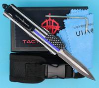 Bandera azul de 7 pulgadas 616 MINI CUCHILLO TACTICO AUTO 440C DOBLE ATION BLADE FINE EDC Cuchillos de regalo de bolsillo