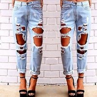 2018 New Fashion jeans woman Light Blue Solid Novelty Skinny...